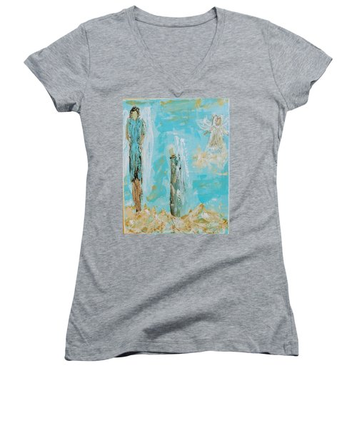 Angels Appear On Golden Clouds Women's V-Neck