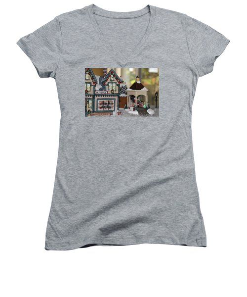 Antiques In Christmas Town Women's V-Neck