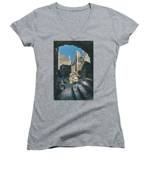 Architecture Of Old Vathia Settlement Women's V-Neck