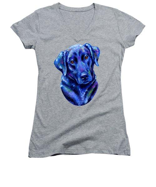 Colorful Black Labrador Retriever Dog Women's V-Neck