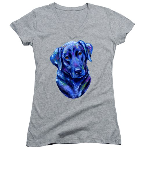 Colorful Black Labrador Retriever Dog Women's V-Neck