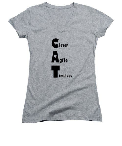 Cat With Black Words Women's V-Neck