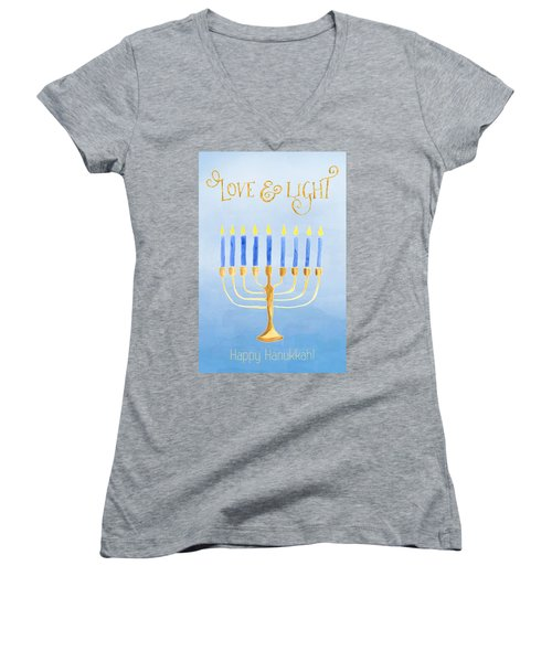 Love And Light For Hanukkah Women's V-Neck