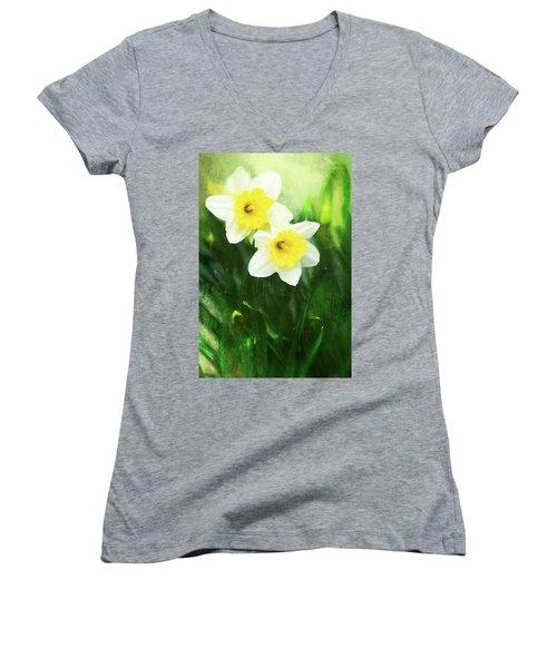 Lovely Painted Daffodil Pair Women's V-Neck