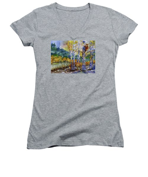 Aspen Bears At Emmigrant Gap Women's V-Neck