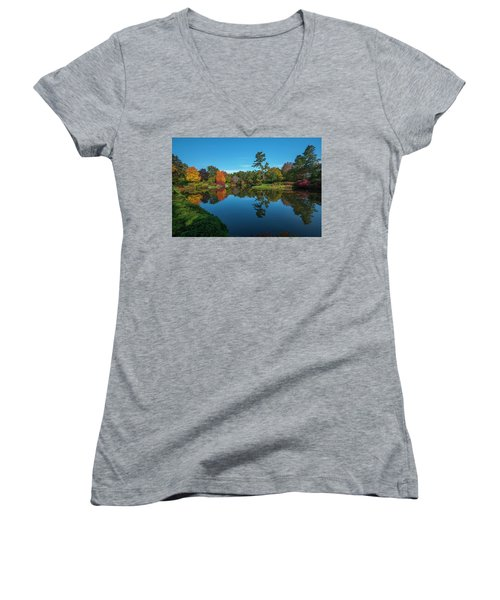 Women's V-Neck featuring the photograph Asticou Reflection by Rick Hartigan