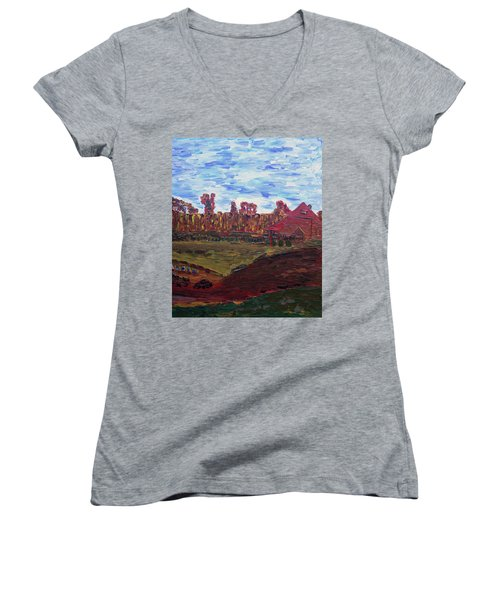 Autumn At Aggie's Farm Women's V-Neck