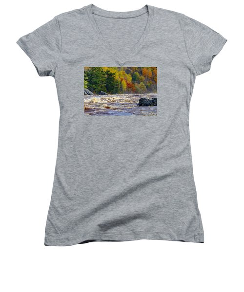 Autumn Colors And Rushing Rapids   Women's V-Neck