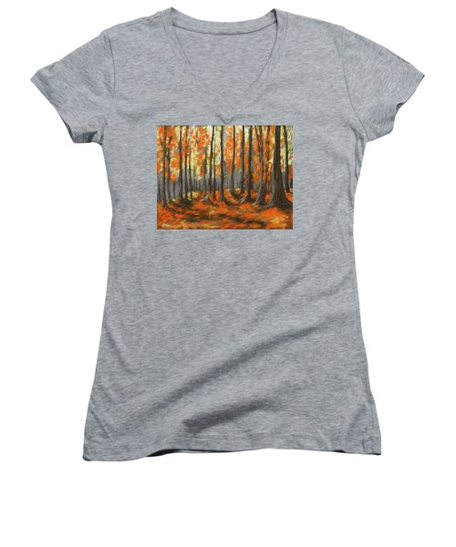 Women's V-Neck featuring the painting Autumn Forest by Anastasiya Malakhova