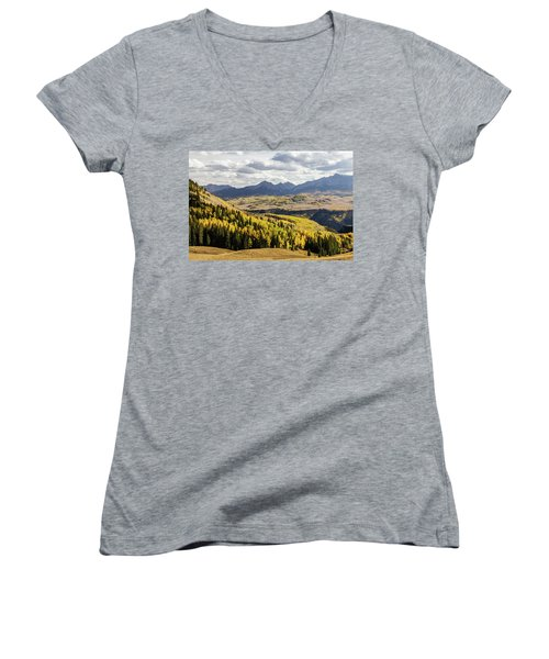 Women's V-Neck featuring the photograph Autumn Season View Of Sneffles Ten Peak by James BO Insogna