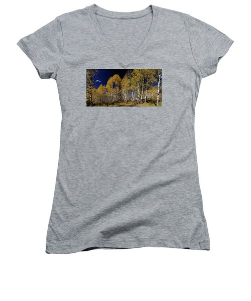 Women's V-Neck featuring the photograph Autumn Walk In The Woods by James BO Insogna