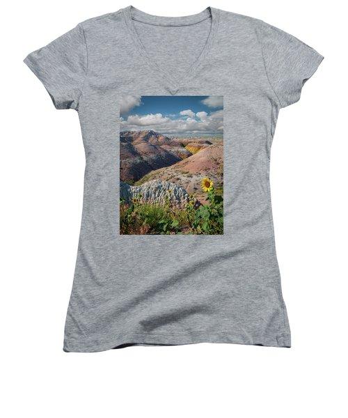 Badlands Sunflower - Vertical Women's V-Neck