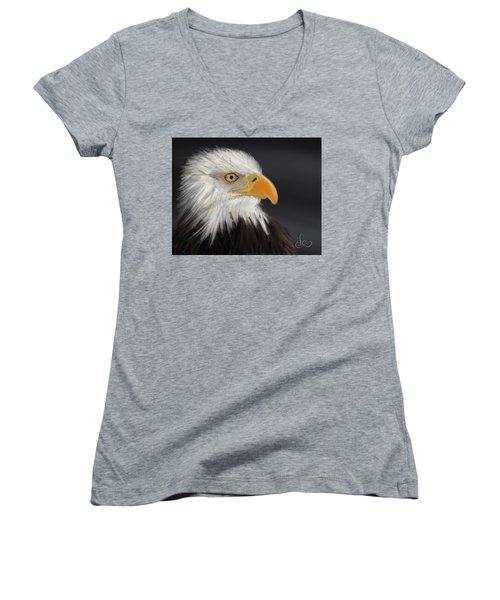 Women's V-Neck featuring the pastel Bald Eagle by Fe Jones