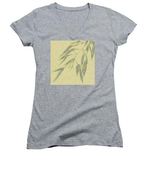 Bamboo Leaves 0580b Women's V-Neck