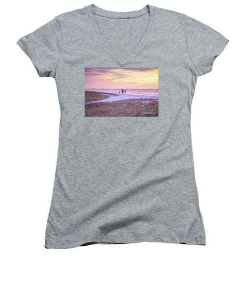 Sunrise Stroll On The Beach Women's V-Neck