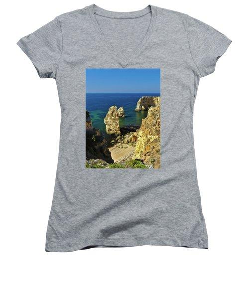 Beautiful Marinha Beach From The Cliffs Women's V-Neck