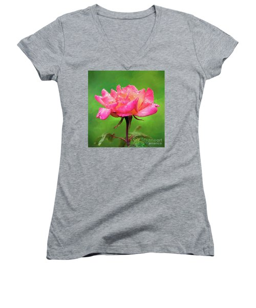 Beautiful Two-tone Rose In The Rain Women's V-Neck