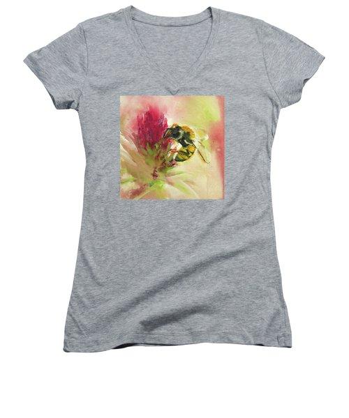 Bee On Clover Women's V-Neck