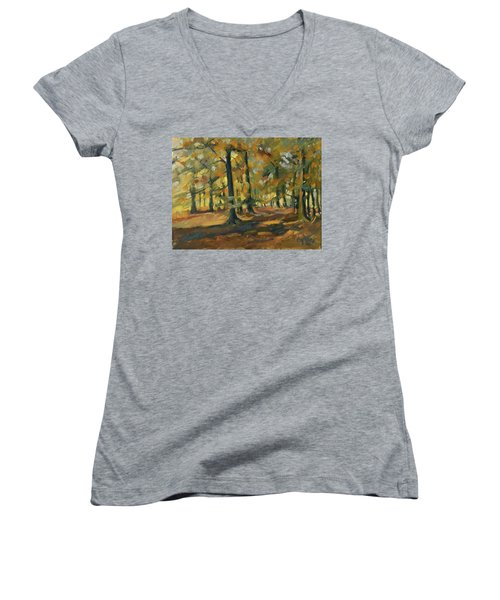 Beeches In Autumn Women's V-Neck (Athletic Fit)