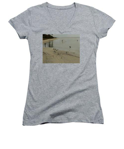 Birds On Beach Women's V-Neck (Athletic Fit)