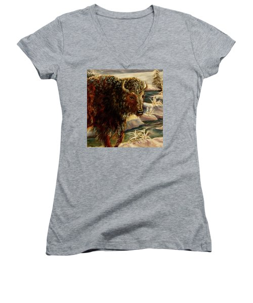 Bison In The Depths Of Winter In Yellowstone National Park Women's V-Neck