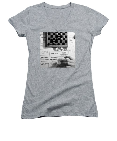 Blot Here, Aka Black's Move, 1972 Women's V-Neck