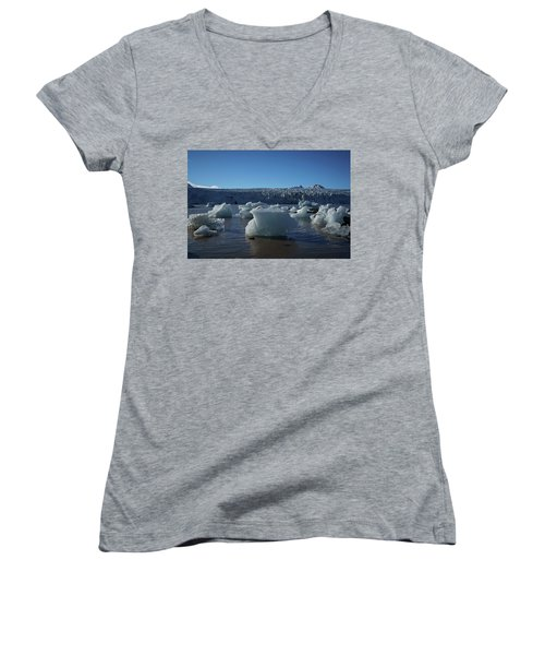 Blue Icebergs Floating Along Storm Arctic Coast Panorama Women's V-Neck