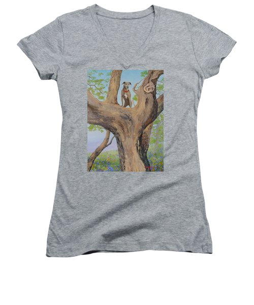 Blue Lacey In A Tree Women's V-Neck