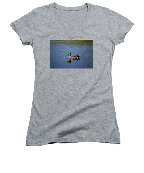 Women's V-Neck featuring the photograph Blue Winged Teal by Kevin Banker