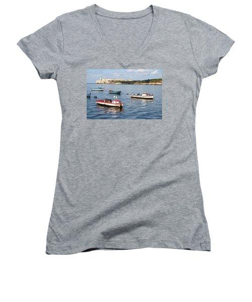 Boats In The Harbor Havana Cuba 112605 Women's V-Neck