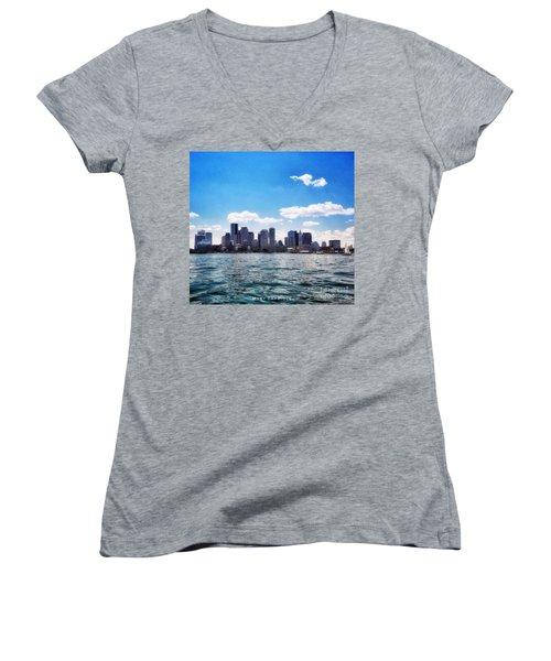 Boston Skyline From Boston Harbor  Women's V-Neck