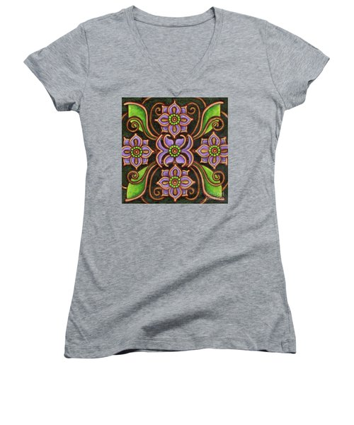 Botanical Mandala 6 Women's V-Neck