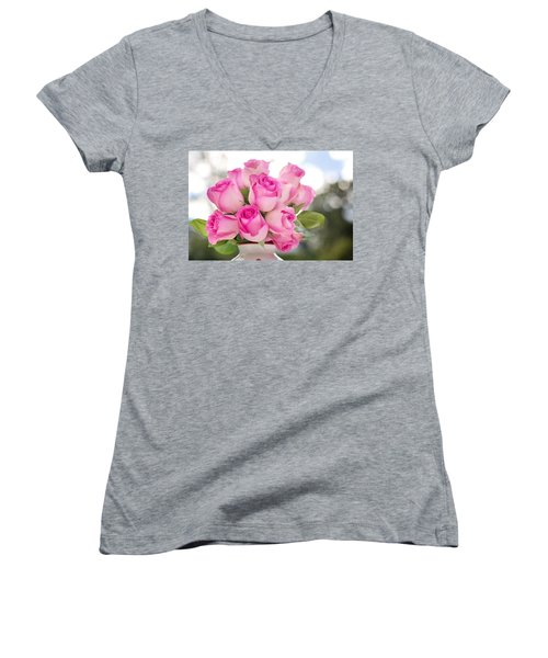 Bouquet Of Pink Roses Women's V-Neck
