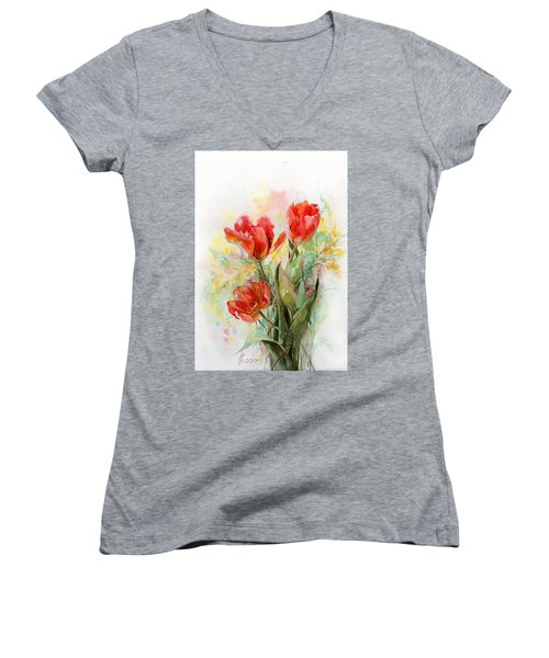 Bouquet Of Red Tulips Women's V-Neck