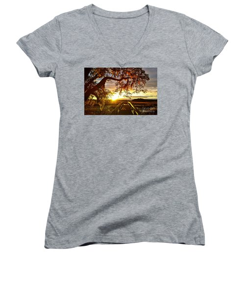 Women's V-Neck featuring the photograph Breaking Sunset by Robert Knight