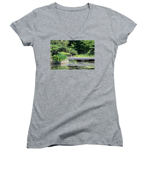 Bridge Over Pond In Japanese Garden Women's V-Neck