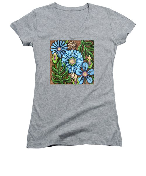 Brown And Blue Floral 1 Women's V-Neck