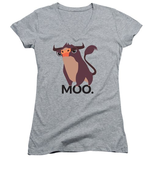 Bull Illustration - Moo Women's V-Neck