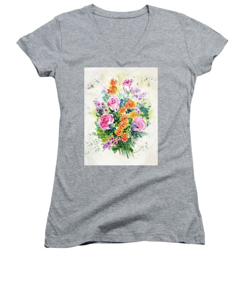 Women's V-Neck featuring the painting Bunch Of Flowers by Asha Sudhaker Shenoy