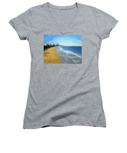 Burleigh Beach Gold Coast Australia 070708 Cartoon Women's V-Neck