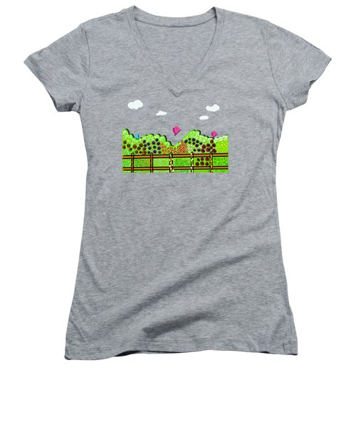Butterflies And Flowers Women's V-Neck