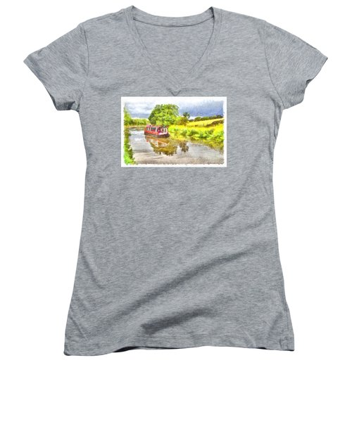 Canal Boat On The Leeds To Liverpool Canal Women's V-Neck
