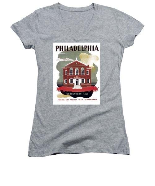 Carpenter Hall - Philadelphia - Remastered Women's V-Neck