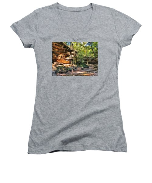 Women's V-Neck featuring the photograph Carved Passage by Andrea Platt