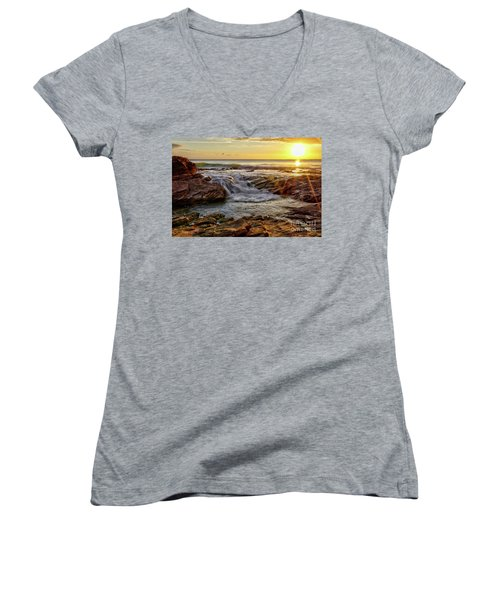 Cascading Sunset At Crystal Cove Women's V-Neck