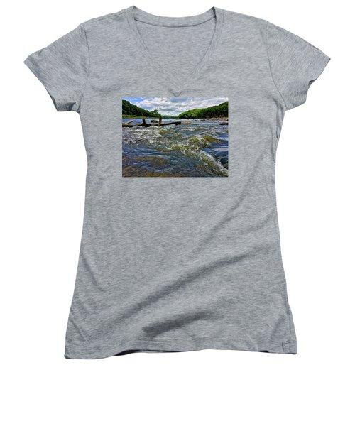 Women's V-Neck featuring the photograph Cedar River Iowa by Dan Miller