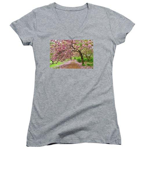Central Park Cherry Blossoms Women's V-Neck