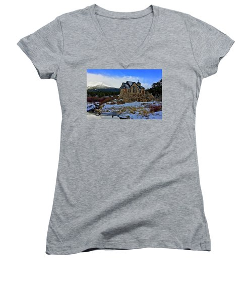 Women's V-Neck featuring the photograph Chapel On The Rock by Dan Miller