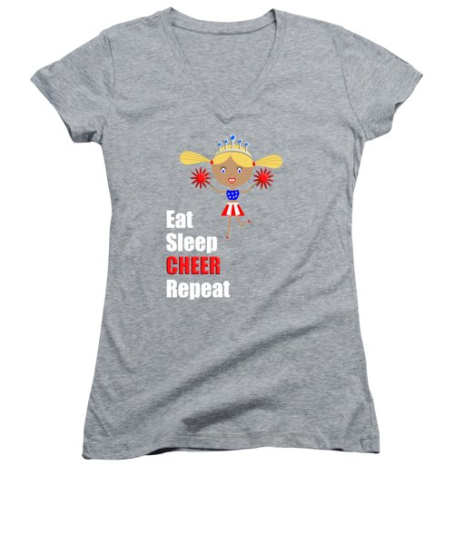 Cheerleader And Pom Poms With Text Eat Sleep Cheer Women's V-Neck