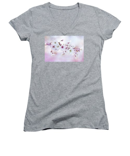 Cherry Blossoms In Pastel Pink Women's V-Neck
